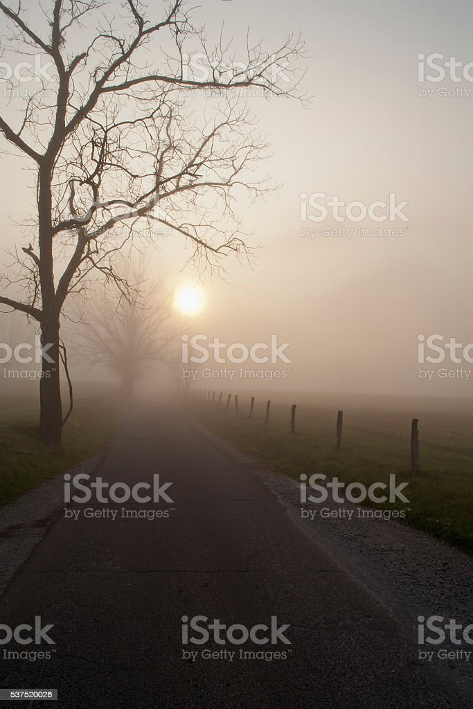 Sunrise, Cades Cove, Great Smoky Mountains NP stock photo