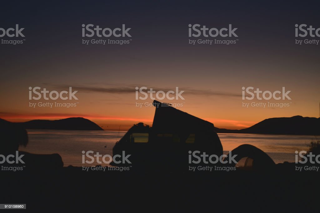 Sunrise Camping Tent Silhouette Pop Up Camper Van Beach Royalty Free Stock Photo