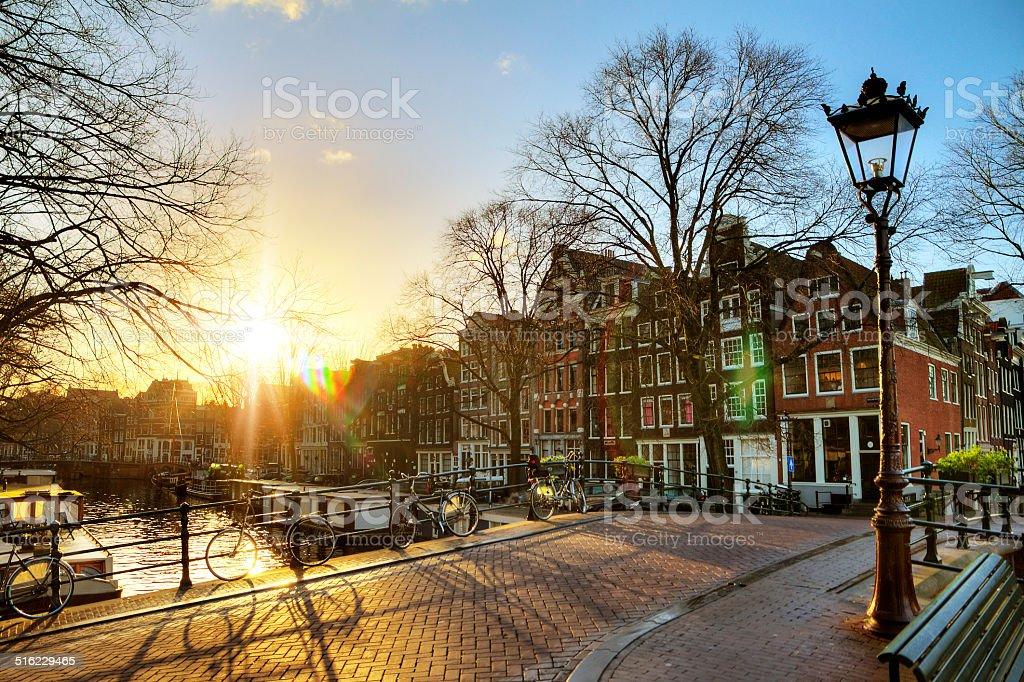 Sunrise canals stock photo