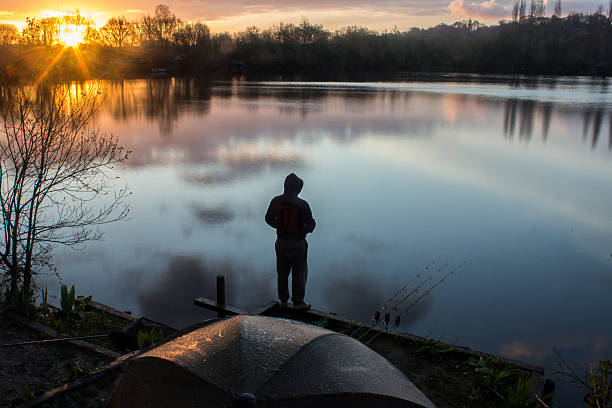 Sunrise Carp Angler overlooking Lake stock photo