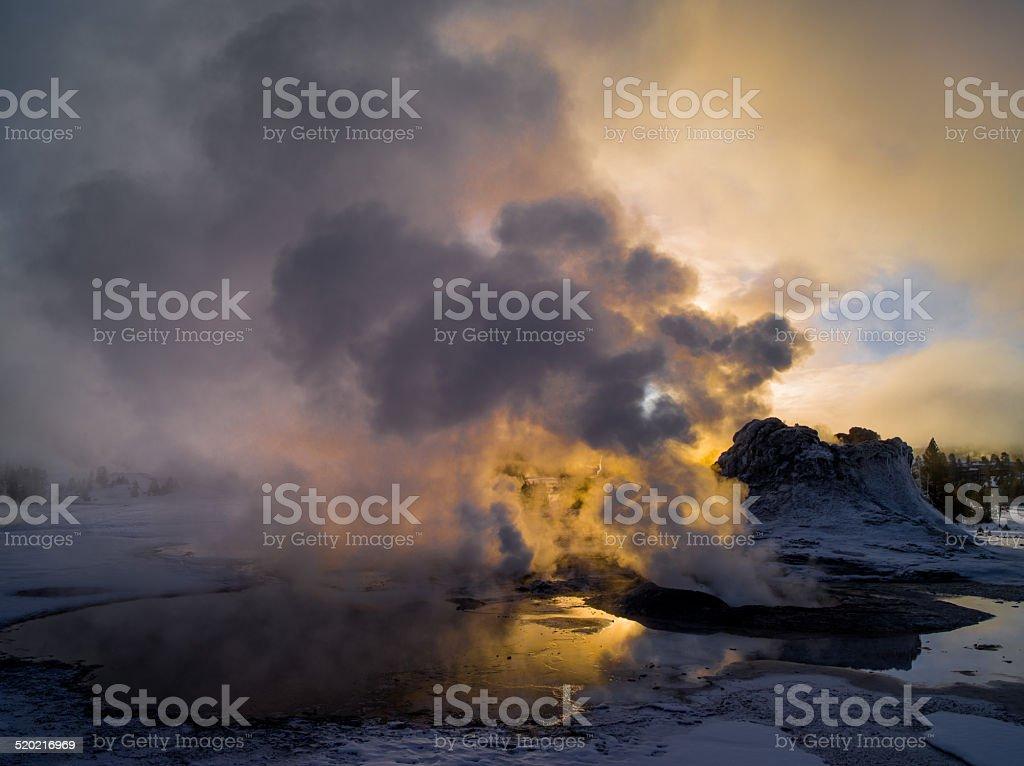 Sunrise, Castle Geyser and Tortoise Shell Spring stock photo