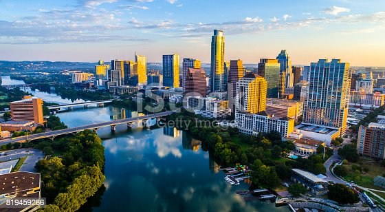 istock Sunrise Cityscape Austin Texas at Golden Hour Above Tranquil Lady Bird Lake 2017 819459266