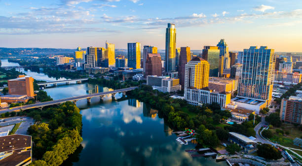Sunrise Cityscape Austin Texas at Golden Hour Above Tranquil Lady Bird Lake 2017 stock photo