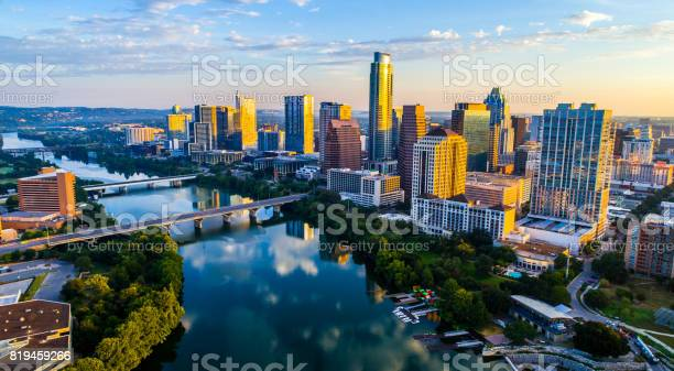 Photo of Sunrise Cityscape Austin Texas at Golden Hour Above Tranquil Lady Bird Lake 2017