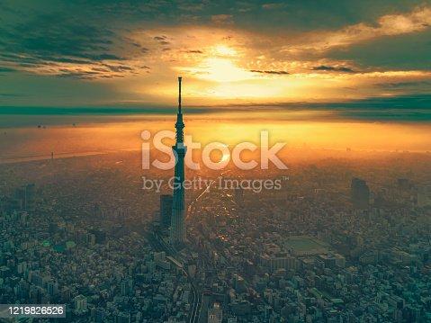 istock Sunrise cityscape of Tokyo at dawn, Japan 1219826526