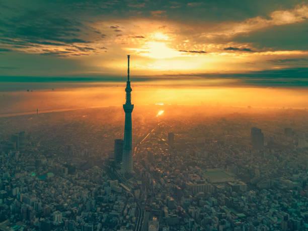 Sonnenaufgang Stadtbild von Tokio im Morgengrauen, Japan – Foto