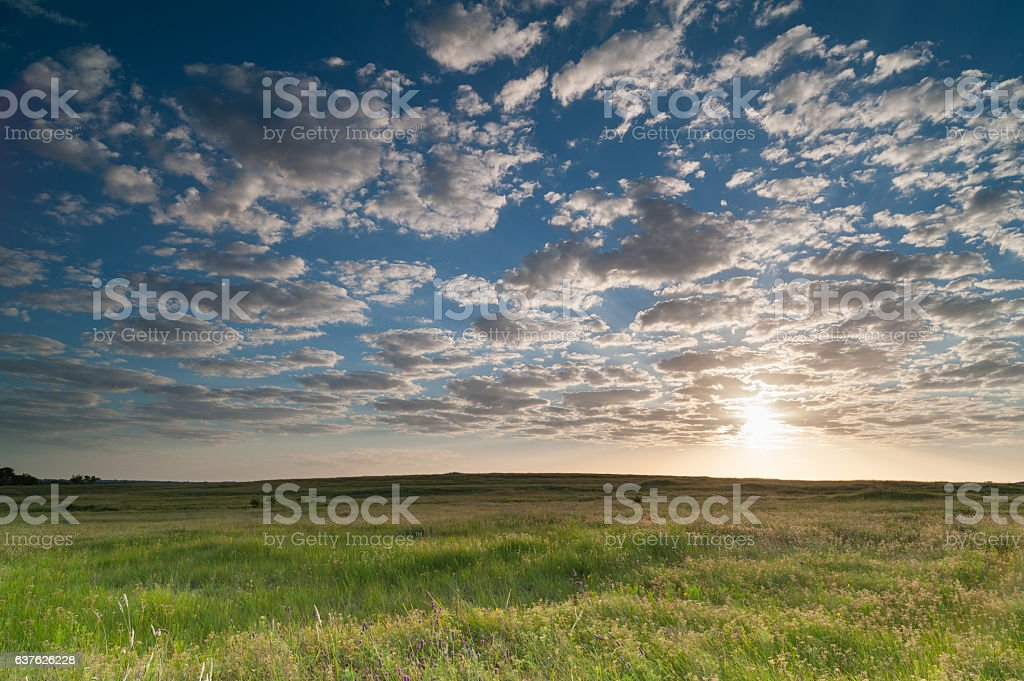 Sunrise Clouds Over the Prairie, Oklahoma stock photo