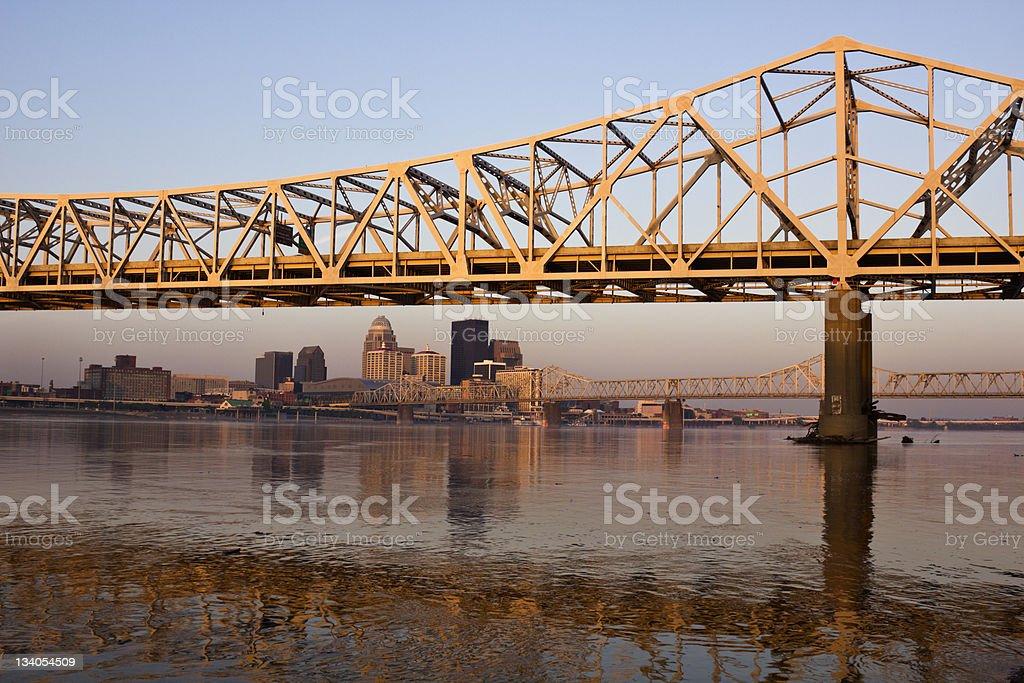 Sunrise colors on the bridge in Louisville stock photo