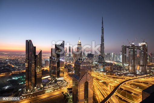 Sunrise colors over Dubai Downtown district during dawn. Dubai, UAE.