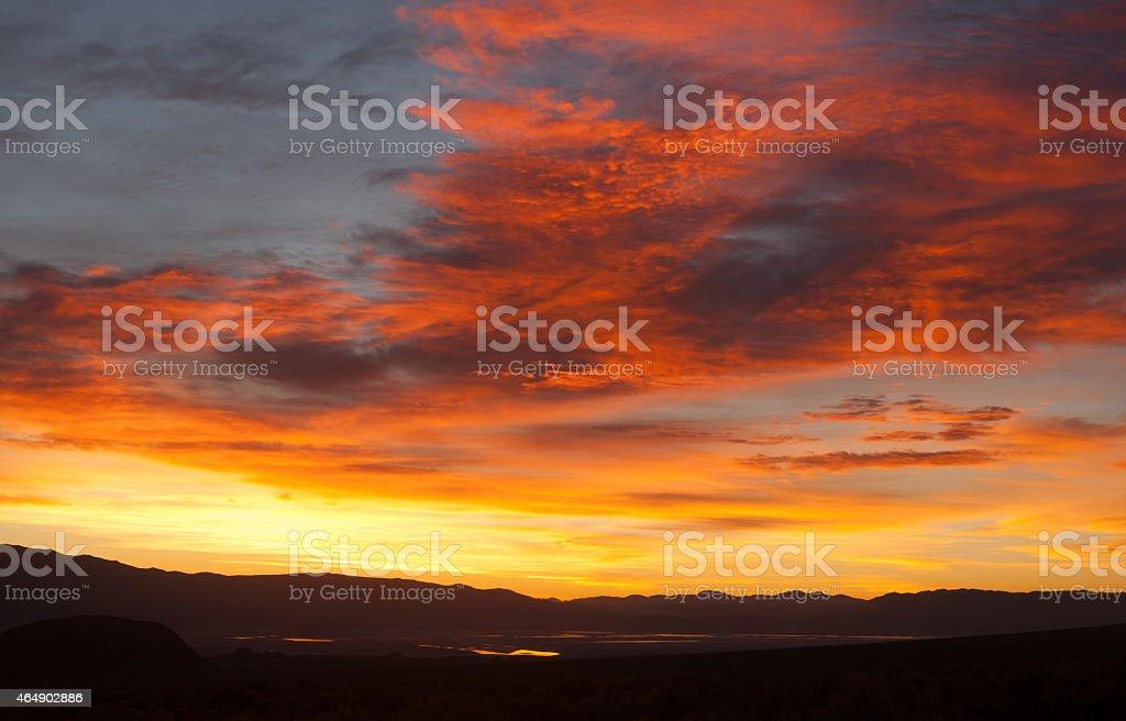 Sunrise Comes over Owens Lake Sierra Nevada Range California stock photo