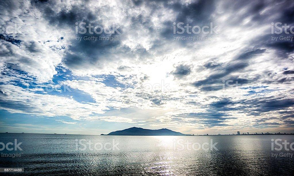 Sunrise Danang, Vietnam stock photo