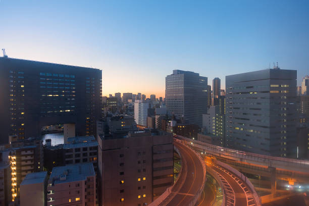 Sunrise dawn landscape epic scenery of downtown Tokyo stock photo