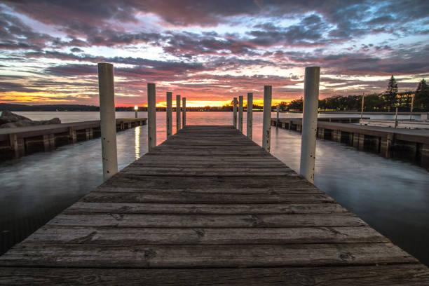 Sunrise Dock In Downtown Traverse City Michigan stock photo