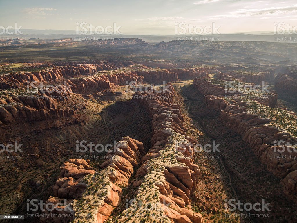 Sunrise Drone/Aerial Photo of Utah Desert Canyons & Mountains stock photo