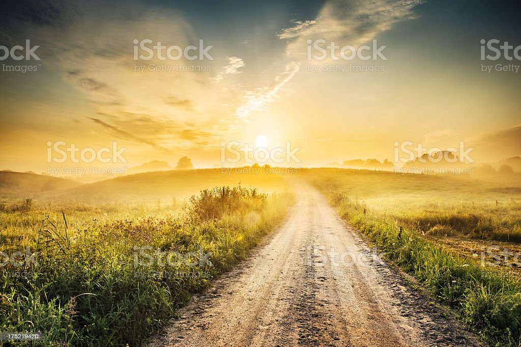 Sunrise during Morning Mist - Farm Road Landscape HDR XXXL stock photo
