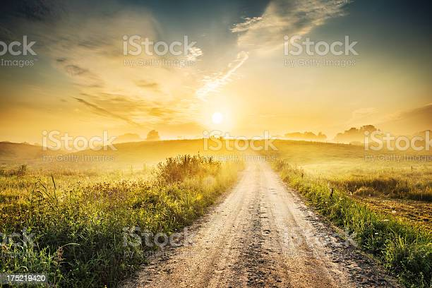 Sunrise During Morning Mist Farm Road Landscape Hdr Xxxl Stock Photo - Download Image Now
