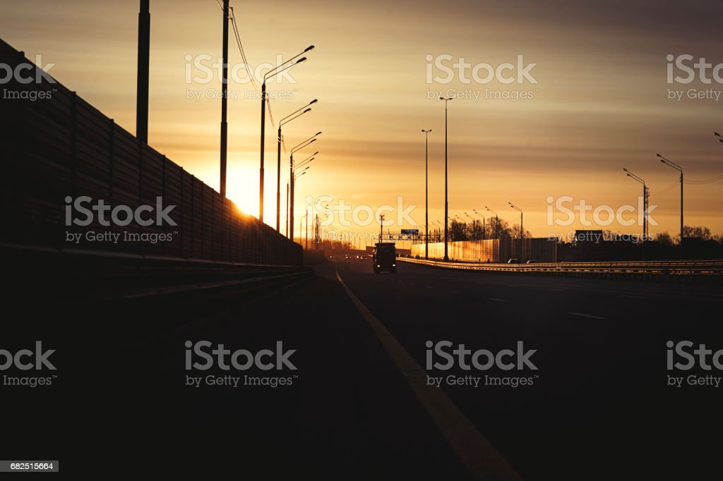 Sunrise early morning on highway road in Russian royalty-free stock photo