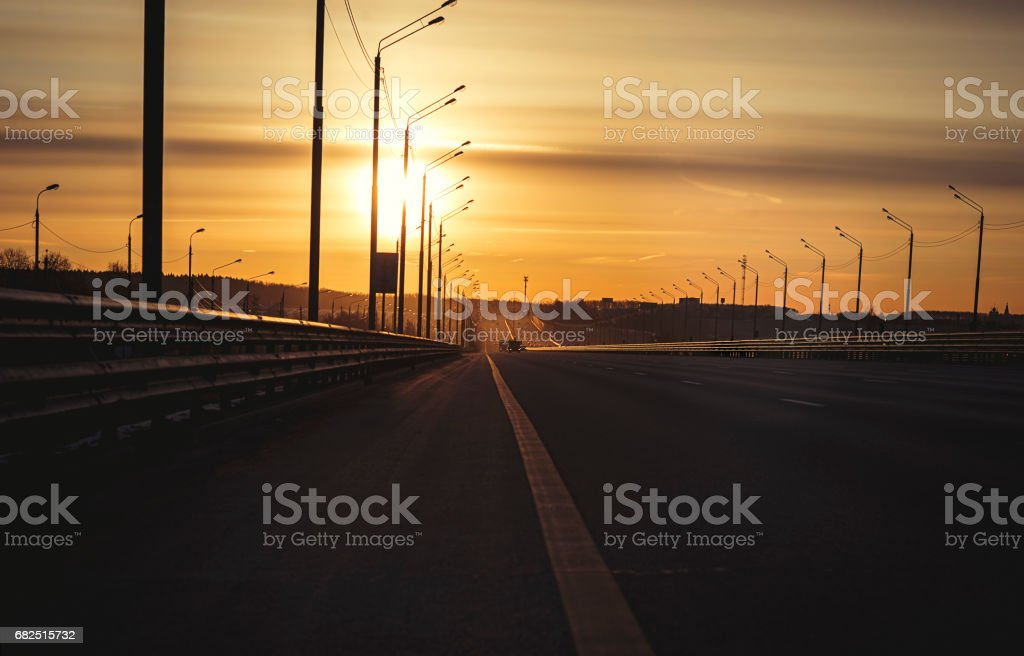 Sunrise early morning on highway road in Russian foto stock royalty-free