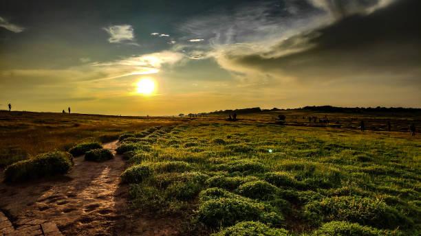 Sunrise evening at Kas Pathar, Satara stock photo