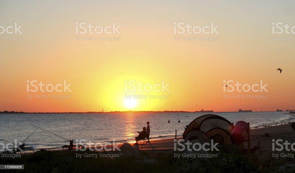 Sunrise Fishing royalty-free stock photo