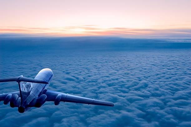 Sunrise flight stock photo