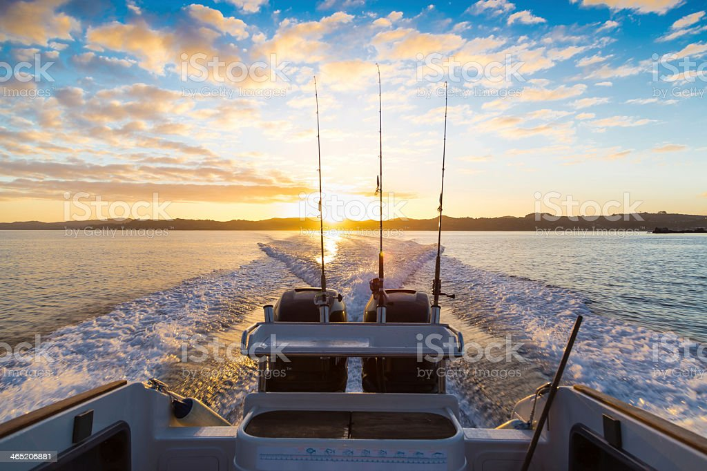 Sunrise from boat on Waiheke, New Zealand stock photo