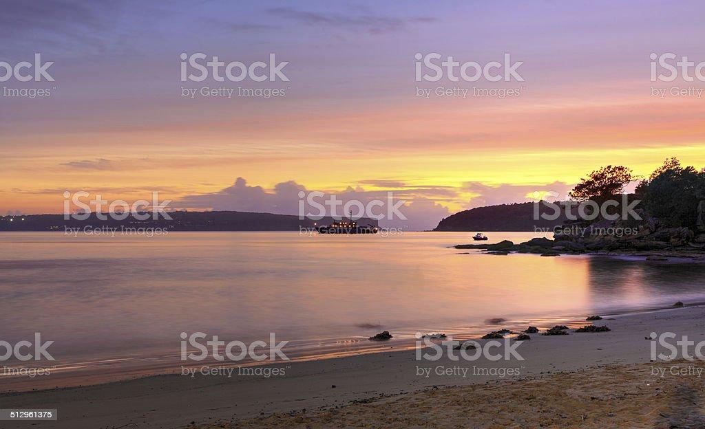 Sunrise from Edwards Beach Australia stock photo