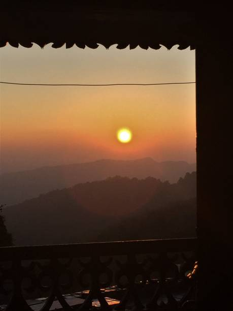 Sunrise from inside a Tea House stock photo