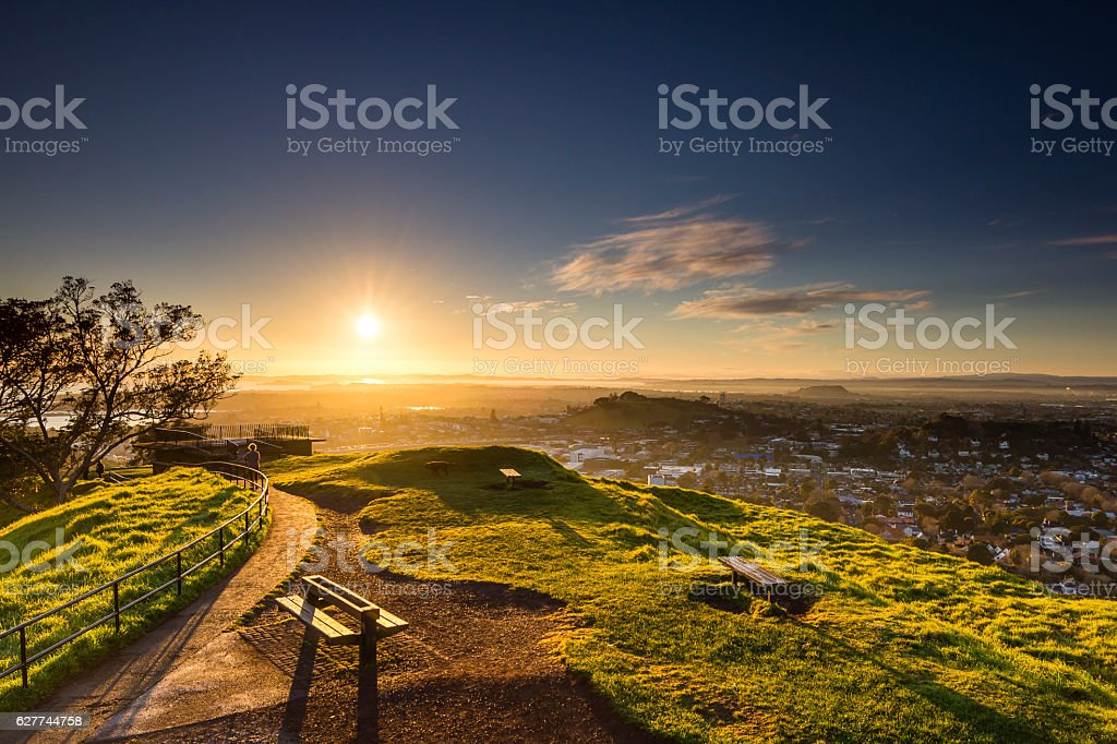 Sunrise from Mount Eden stock photo