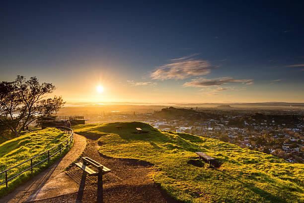 Sunrise from Mount Eden stock photo