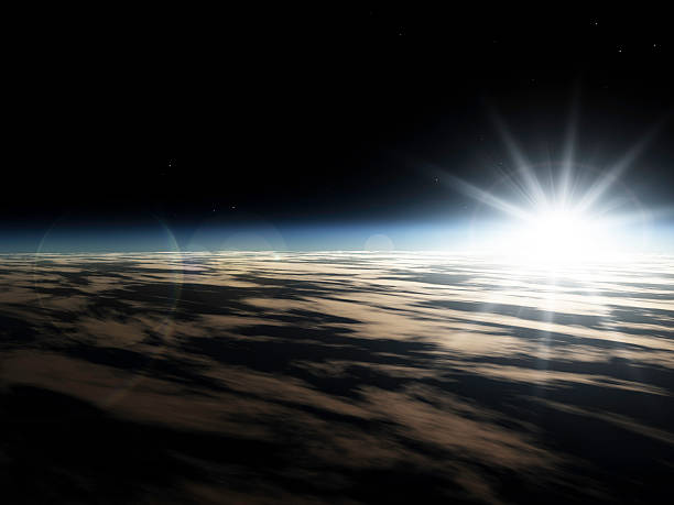 Sunrise from space Sunrise from outer space. Sun just above the horizon.Part of emergence stock pictures, royalty-free photos & images
