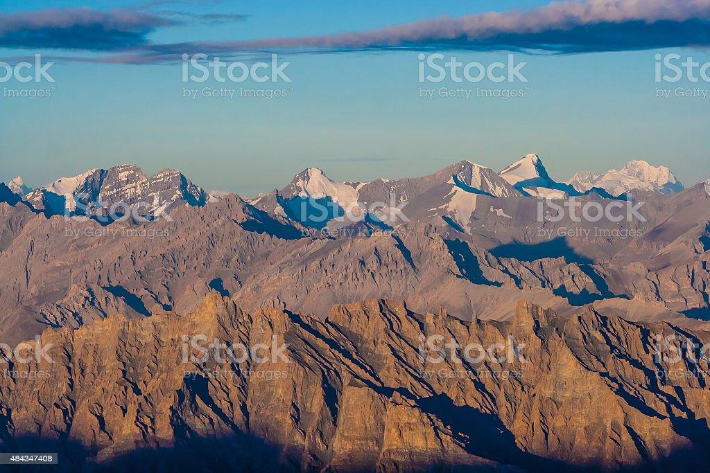 Sunrise from Stok Kangri - Magnificient view to Himalayas stock photo