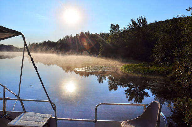 A sunrise from the boat. stock photo