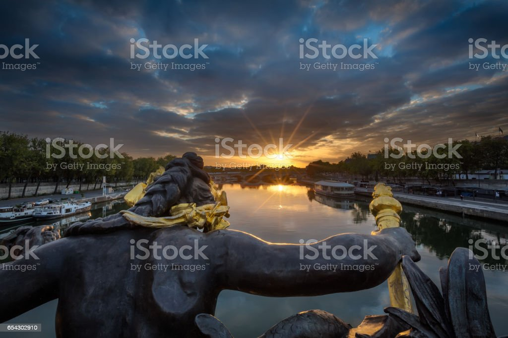 Sunrise from the Pont Alexandre III and the Eiffel tower, Paris, France stock photo