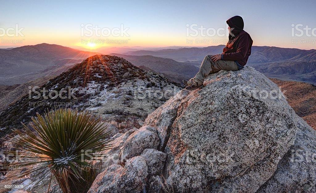 Sunrise From the Summit of Granite Mountain stock photo