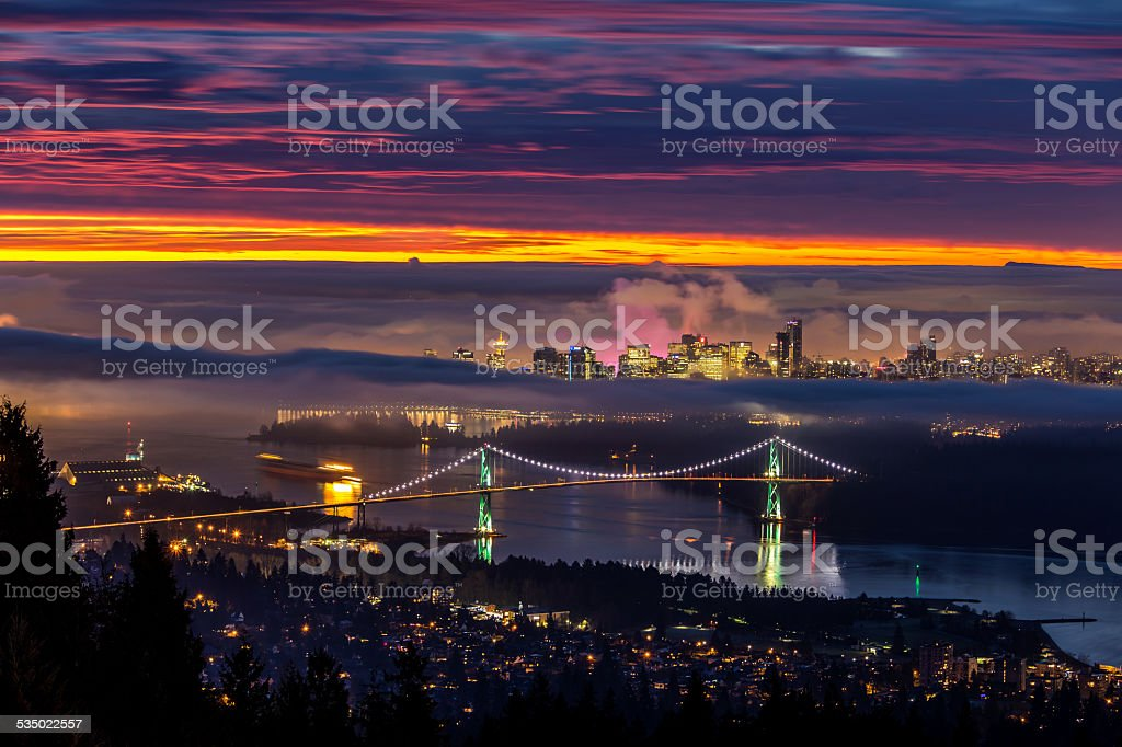 Sunrise from West Vancouver stock photo