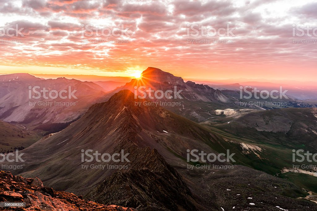 Sunrise from Wetterhorn Peak, Colorado Rocky Mountains USA stock photo