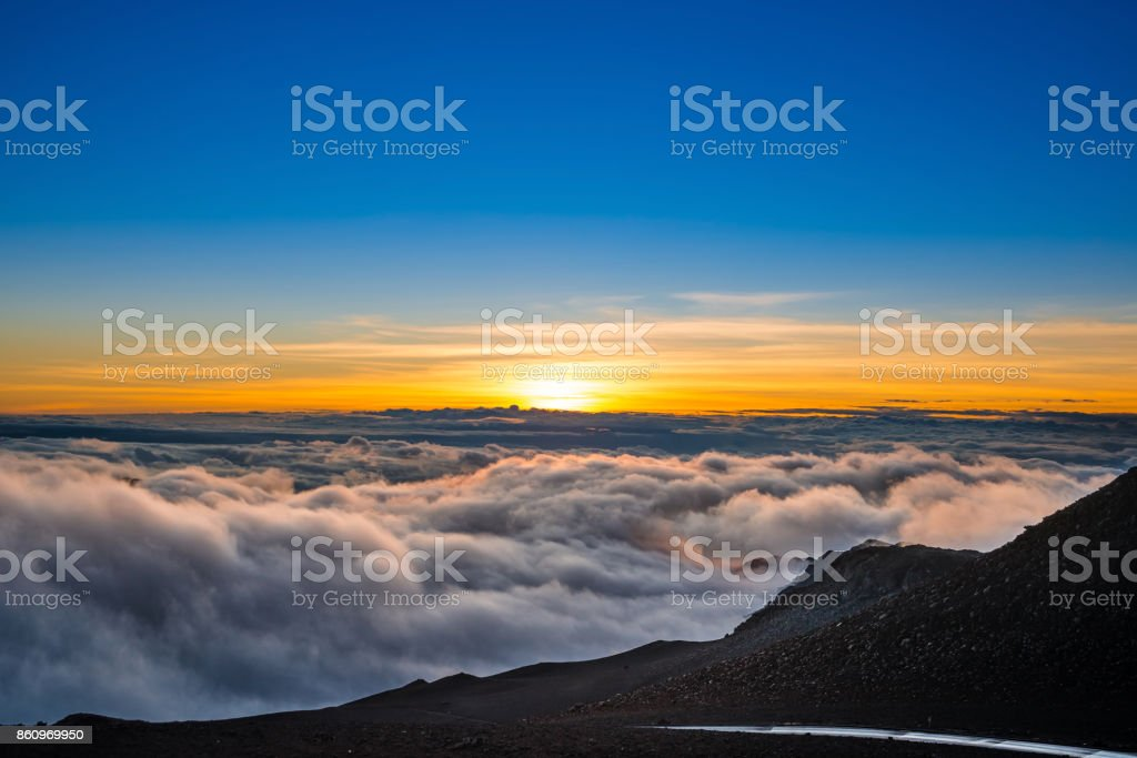 Sunrise, Haleakala National Park, Maui, Hawaii stock photo