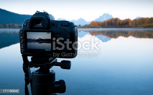 Sunrise image preview in the LCD - Oxbow Bend, Grand Teton National Park.