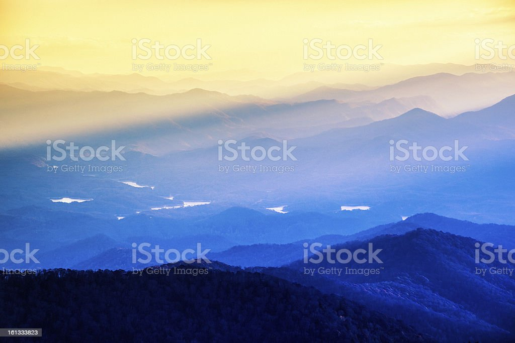 Sunrise in a Mountain Landscape royalty-free stock photo