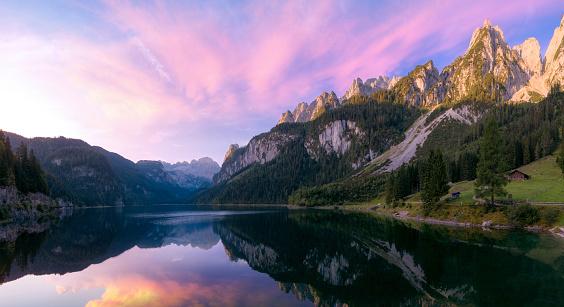 Sunrise in Alps, Gosausee lake, Austria
