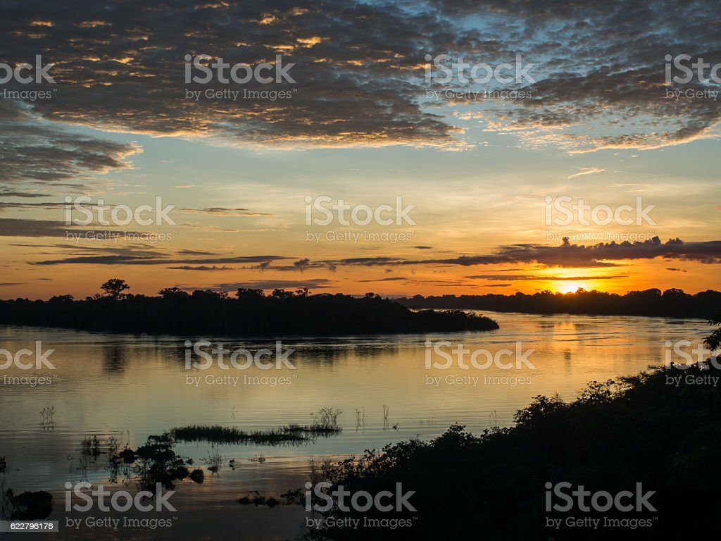 Sunrise in Amazonia stock photo