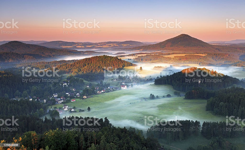 Sunrise in beautiful mountain Czech switzerland stock photo