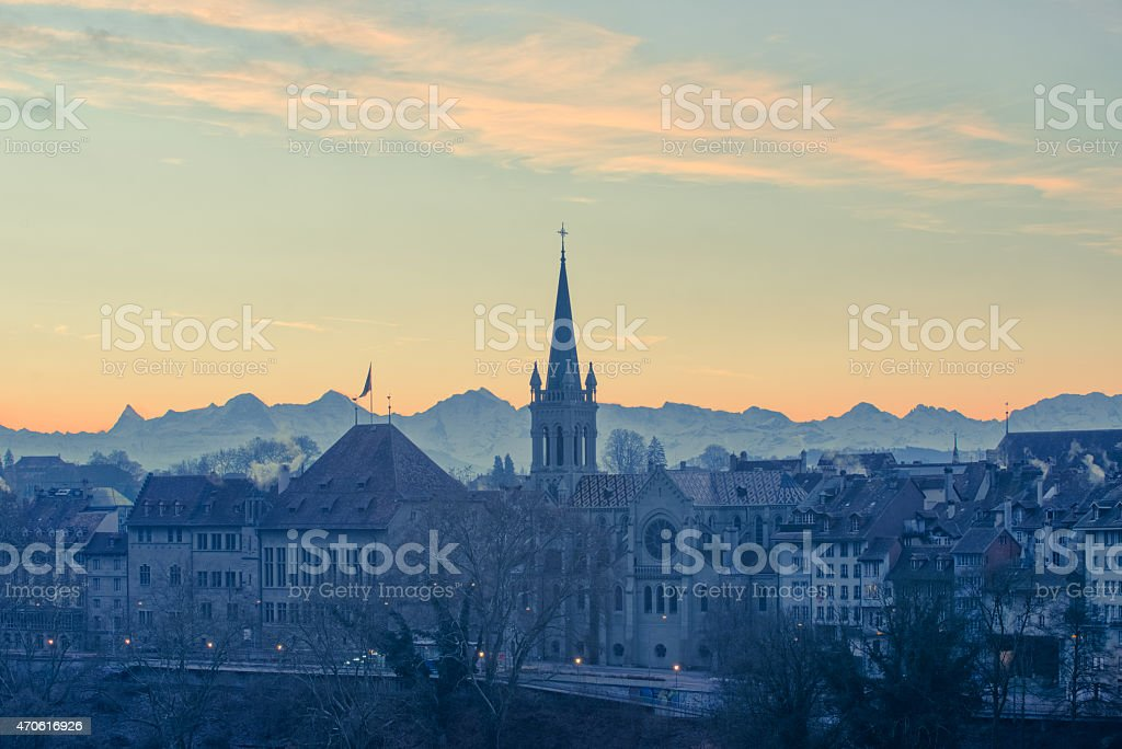 Sunrise in Bern stock photo