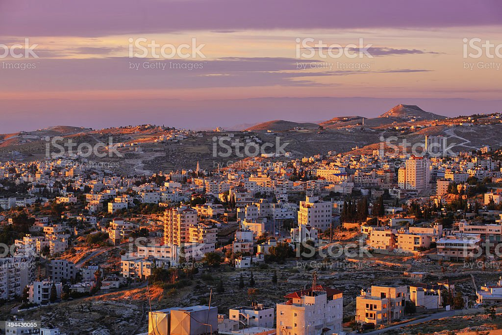 Sunrise in Bethlehem city stock photo