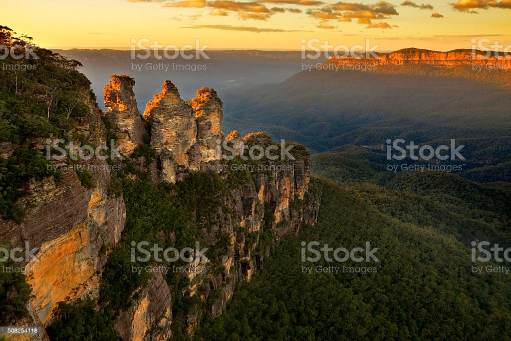 Sunrise in Blue Mountains stock photo