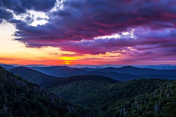 Sunrise in Blue Ridge Parkway stock photo
