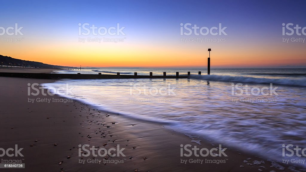 Sunrise in Bournemouth stock photo