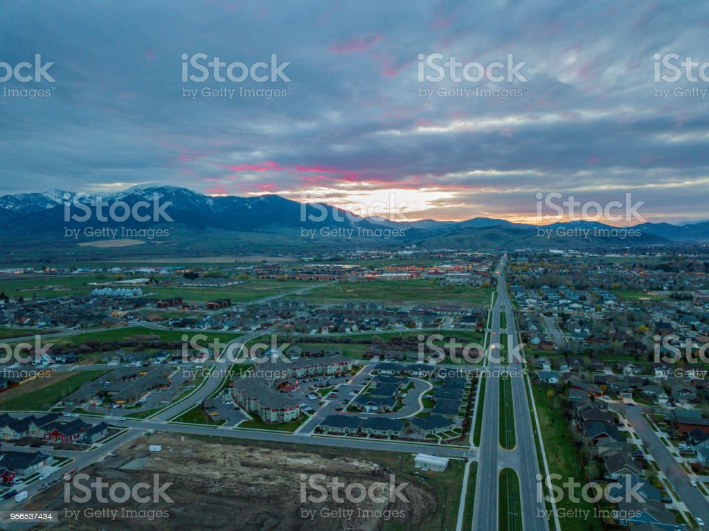 Sunrise in Bozeman Montana stock photo