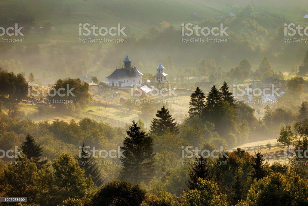 Sunrise in Bucovina stock photo